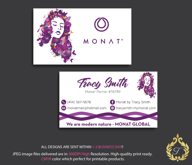 Monat Business Cards, Personalized Monat Hair Care Cards MN22