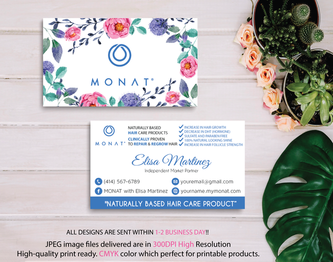 Monat Business Cards, Personalized Monat Hair Care Cards MN05