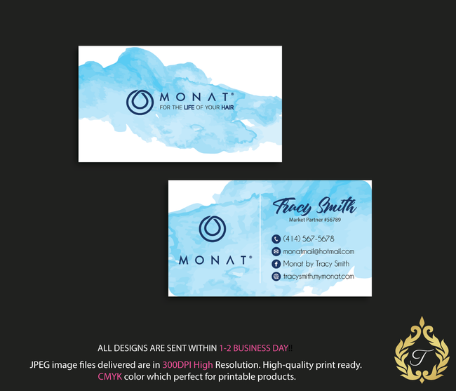 Monat Business Cards, Personalized Monat Hair Care Cards MN15