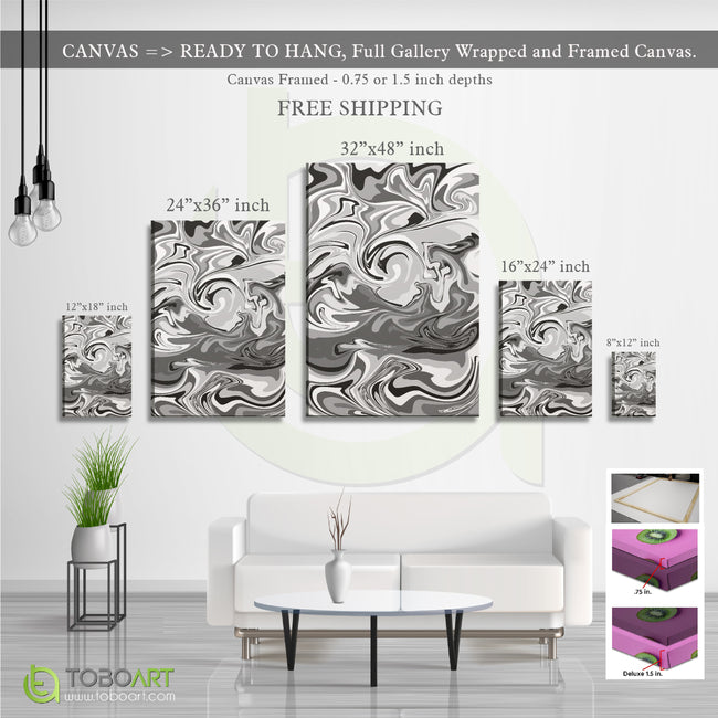 Marble Black and White Art Cv45 Portrait Canvas .75in Frame