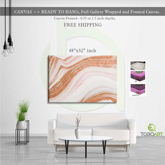 Large Marble Art, Beautiful Abstract Art CV24 Landscape Canvas .75in Frame