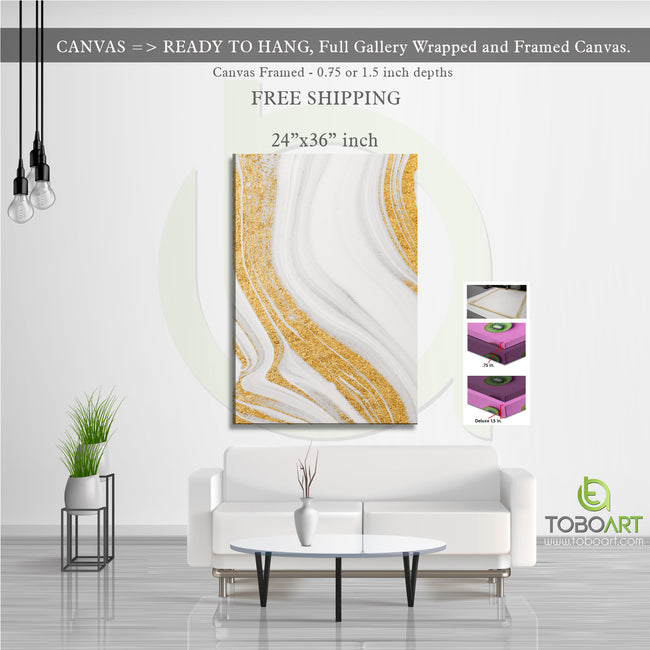 Marbled Stone Canvas, Gold Wall Art CV25 Portrait Canvas .75in Frame