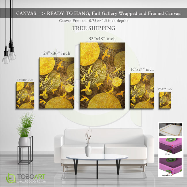 ModernDecor, Golden Wall Art CV26 Portrait Canvas .75in Frame