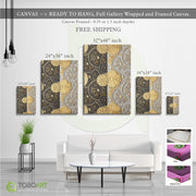 Modern Nordic Gold Foil, Spring Porch Wall Art CV27 Portrait Canvas .75in Frame