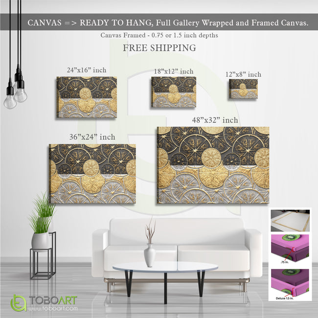 Modern Nordic Gold Foil, Porch Wall Art CV27 Landscape Canvas .75in Frame