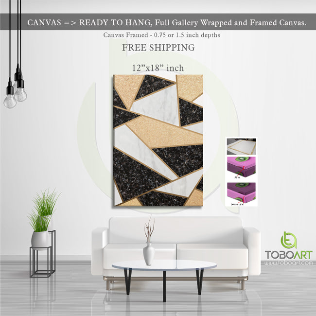 Mosaic Marble Canvas, Modern Mable Art CV28 Portrait Canvas .75in Frame