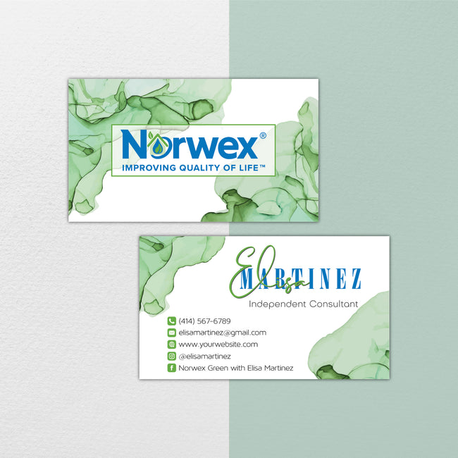Watercolor Norwex Business Cards, Personalized Norwex Template NR30