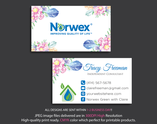 Norwex Business Cards, Personalized Norwex Template NR10