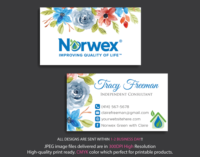 Norwex Business Cards, Personalized Norwex Template NR11