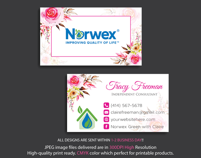 Norwex Business Cards, Personalized Norwex Template NR08