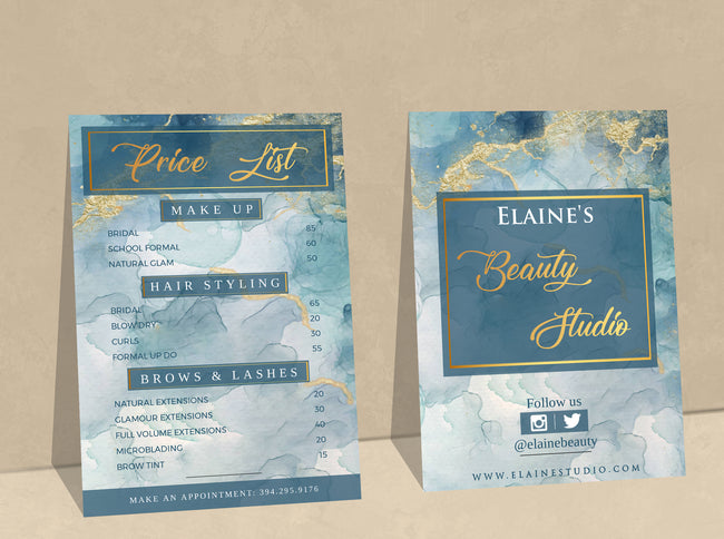 Beauty Salon Price List, Blue Gold Marble Price List, Editable Price List Template, Menu Template, Printable Price Sheet, Salon Price List 02