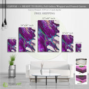 Color Abstract, Purple Splash Canvas Wall Art CV38 Portrait Canvas .75in Frame