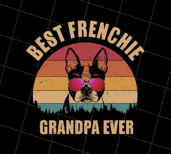 Retro Best Frenchie Grandpa Ever, Bulldog Lover, PNG Printable