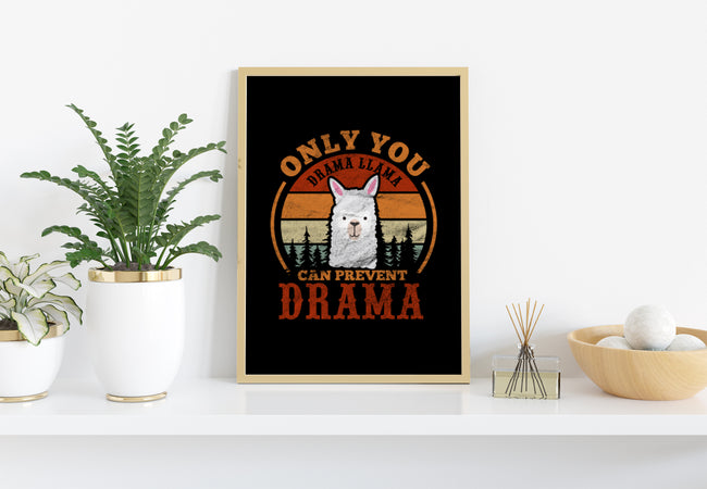 Retro Only You Drama Llama Can Prevent Drama, PNG Printable