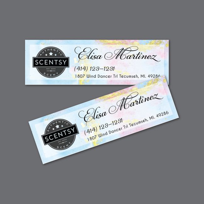 Watercolor Scentsy Label Card, Personalized Scentsy Label Card SS08