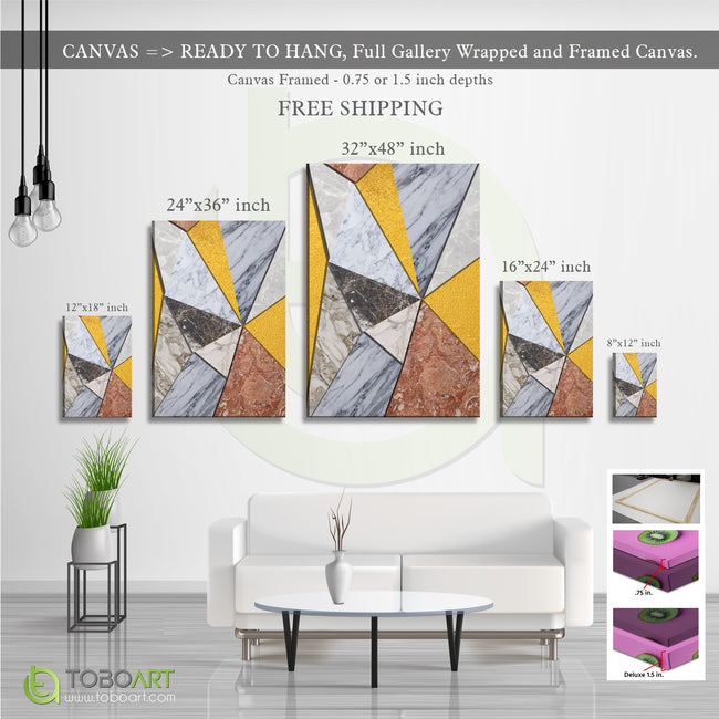 Geometric Squares Marble, Geometric Canvas Wall Art CV39 Portrait Canvas .75in Frame