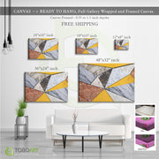 Geometric Squares Marble, Geometric Canvas Wall Art CV39 Landscape Canvas .75in Frame