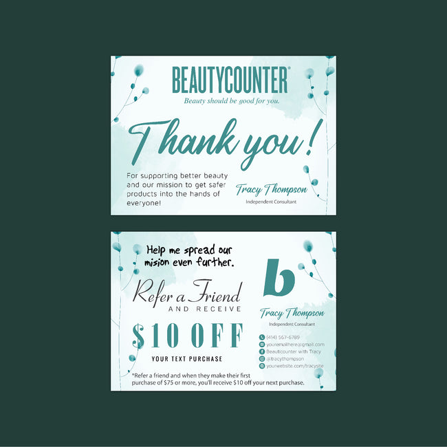 Watercolor BeautyCounter Referral Cards, Personalized BeautyCounter Cards BC42