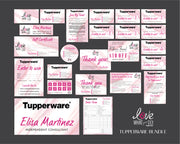 Marble Tupperware Marketing Bundle, Personalized Tupperware Package, Tupperware Template TW08