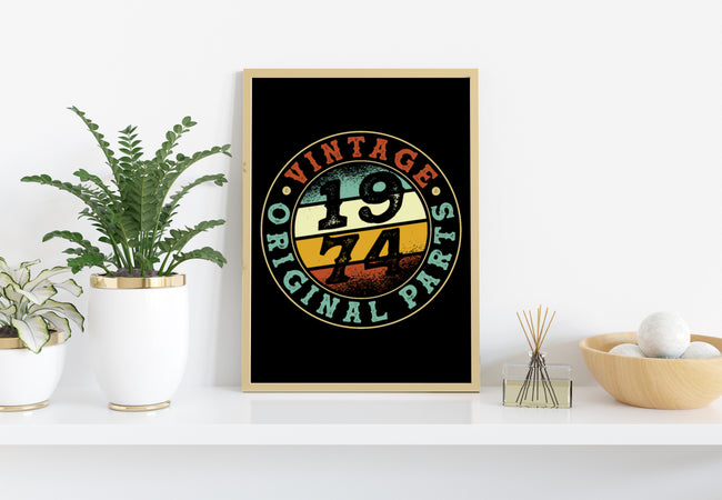 Vintage 1974, Retro 1974 Birthday Gift, PNG Printable
