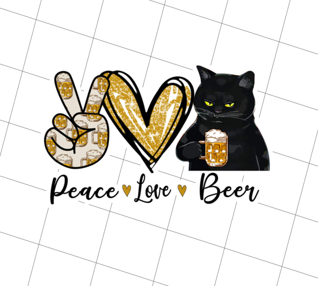 Peace Love Beer Black Cat, Funny Gift, PNG Printable