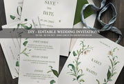 Green Foliage Wedding Invitation, Floral Wedding Invitation, Greenery Wedding