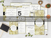 Luxury Wedding Invitation Bundle, Gold Wedding Invitations Set WD19