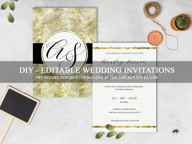 Luxury Wedding Invitation Suite, Editable Gold Wedding Invitations WD19