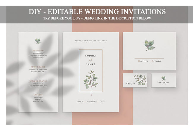 Wedding Invitation Suite, Wedding Invitation Bundle, Minimalist Wedding Invitations