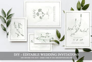 Natural Floral Wedding Invitation Suite, Floral Wedding Invitation Bundle, Green Wedding Invitations
