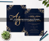 Luxury Wedding Invitation Suite, Editable Gold Wedding Invitations WD20