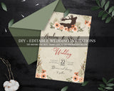 Boho Wedding Invitation Suite, Editable Bohemian Wedding Invitations WD10