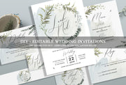 Foliage Wedding Invitation Set, Floral Wedding Invitation, Greenery Wedding Bundle