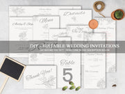 Minimalist Wedding Invitation Bundle, Luxury Wedding Invitations Set WD18