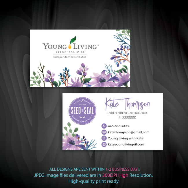Young Living Business Card, Personalized Young Living Cards, Essential Oil Cards, YL08 - ToboArt