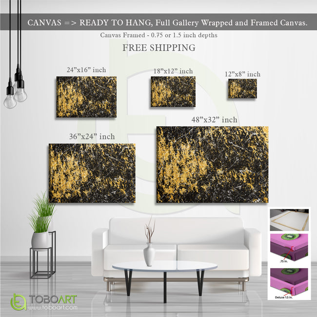 Yellow Marble Canvas Wall Art CV43 Landscape Canvas .75in Frame