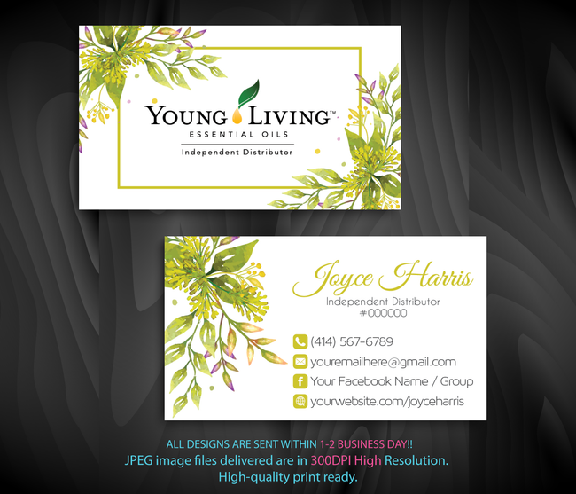 Young Living Business Card, Personalized Young Living Cards, Essential Oil Cards, YL16 - ToboArt