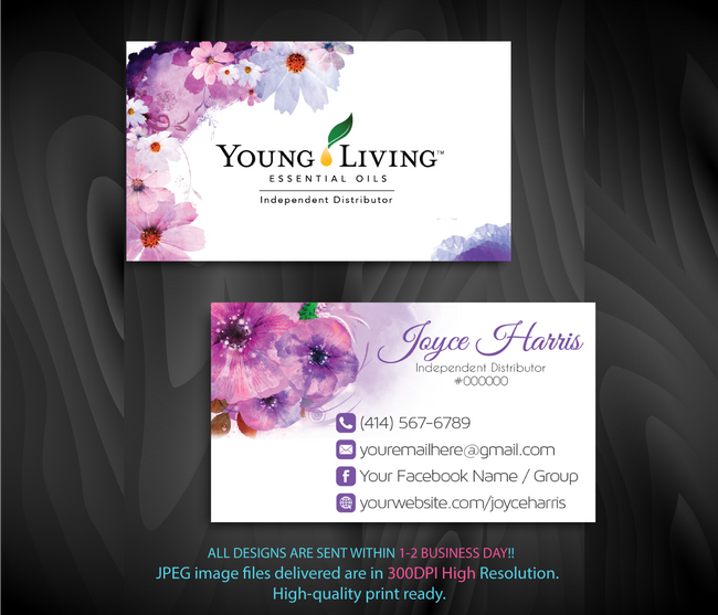 Young Living Business Card, Personalized Young Living Cards, Essential Oil Cards, YL13 - ToboArt