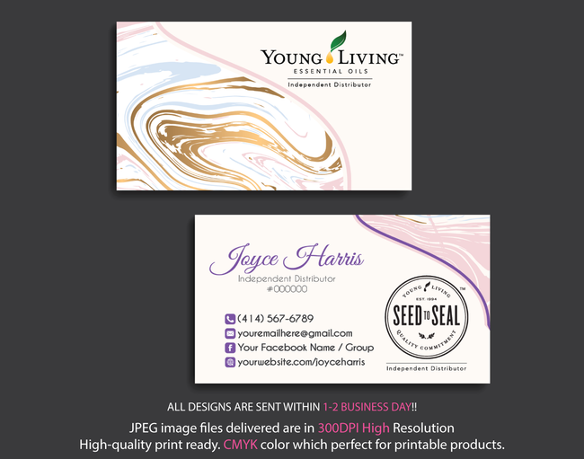 Young Living Business Card, Personalized Young Living Cards, Essential Oil Cards, YL14 - ToboArt