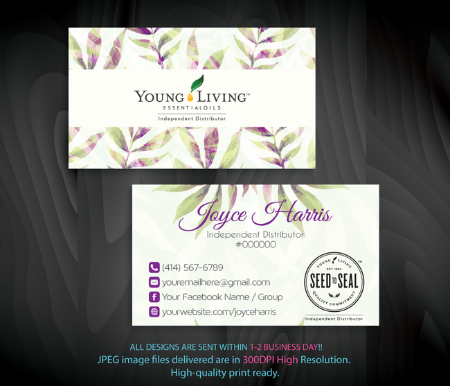 Young Living Business Card, Personalized Young Living Cards, Essential Oil Cards, YL22 - ToboArt