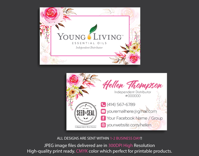 Young Living Business Card, Personalized Young Living Cards, Essential Oil Cards, YL15 - ToboArt