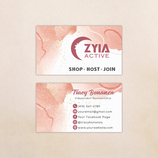 Watercolor Personalized Zyia Active Business Cards, Zyia Business Cards ZA10