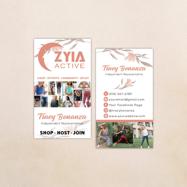 Floral Personalized Zyia Active Business Cards, Zyia Business Cards ZA12