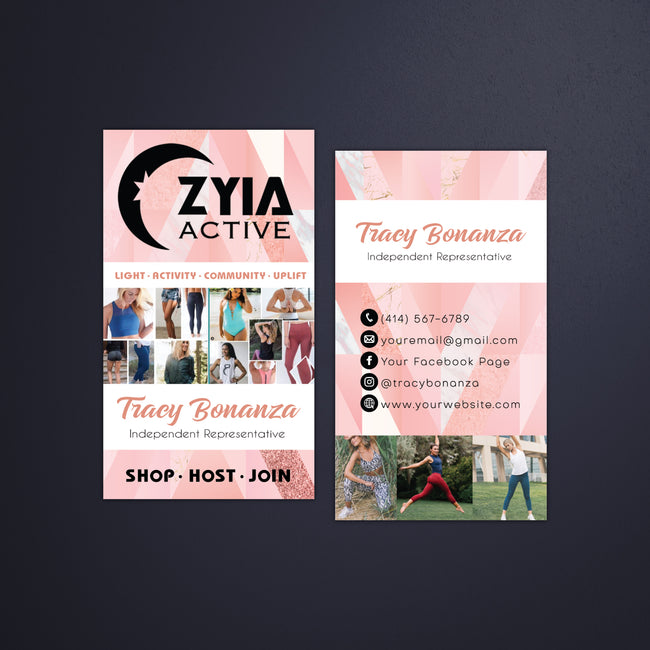 Pink Color Personalized Zyia Active Business Cards, Zyia Business Cards ZA13