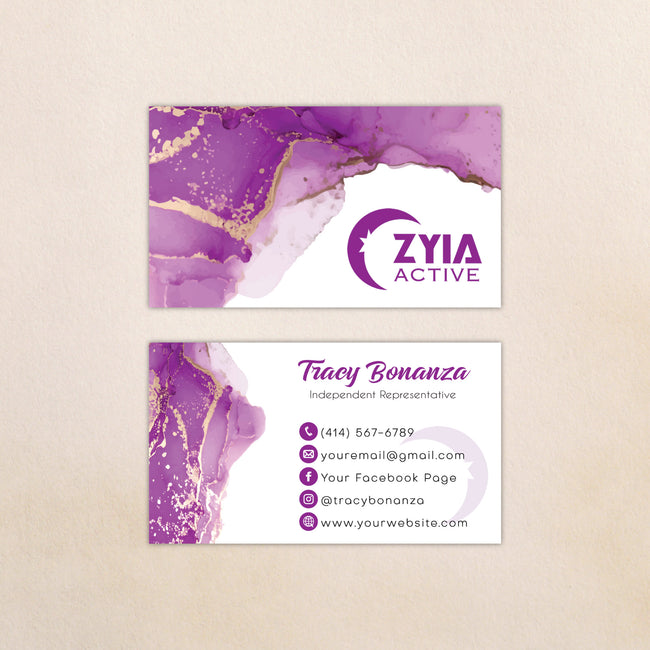 Marble Personalized Zyia Active Business Cards, Zyia Business Cards ZA15