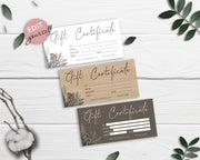 DIY Gift Certificate Template, Gift Voucher, Printable Gift Card GC01