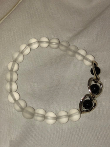 Clear Sea Glass and Lava Stone Heart Bracelet
