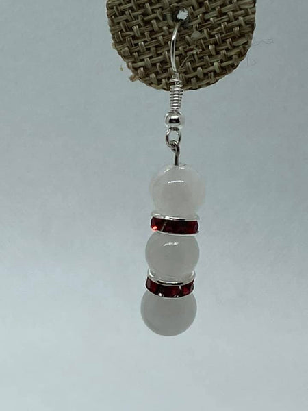 White Red Swarovski Dangle Earrings