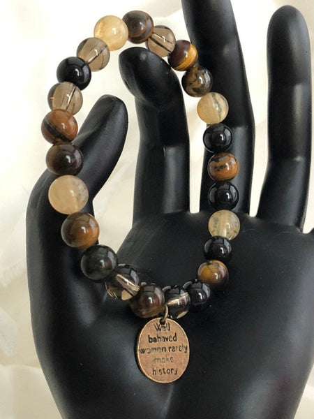 Protection Bracelet, Tourmaline, Tigers Eye, Obsidian, Well Behaved Women Rarely Make History, Healing Jewelry, Boho Jewelry