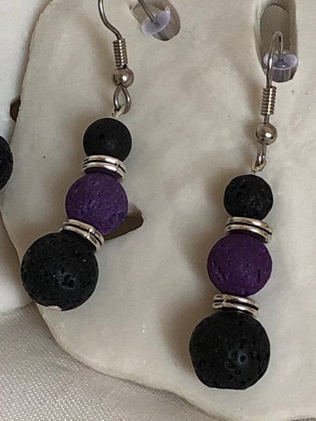 Diffuser Earrings - Lava Stone Earrings - Healing Jewelry - Dangle Earrings - Beaded Earrings - Yoga Jewelry
